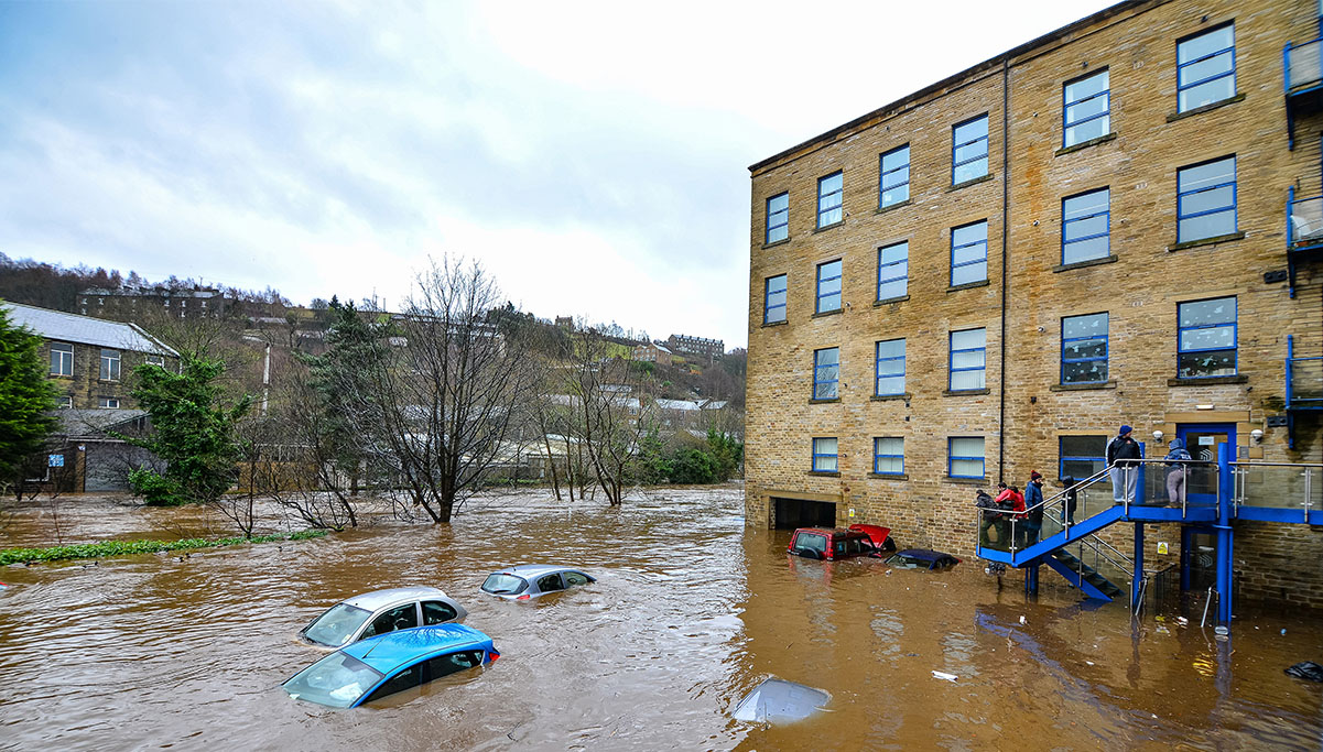 Cars Affected by Flood Water